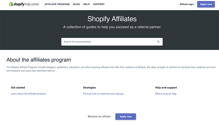 programma di affiliazione di shopify