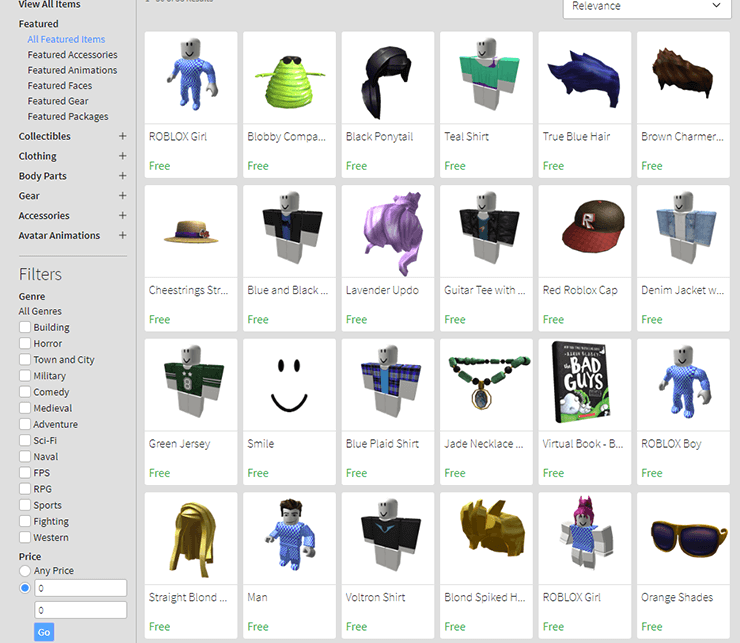 free roblox items catalog
