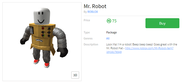 mr robot costume roblox