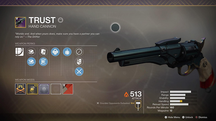 trust hand cannon forsaken weapons