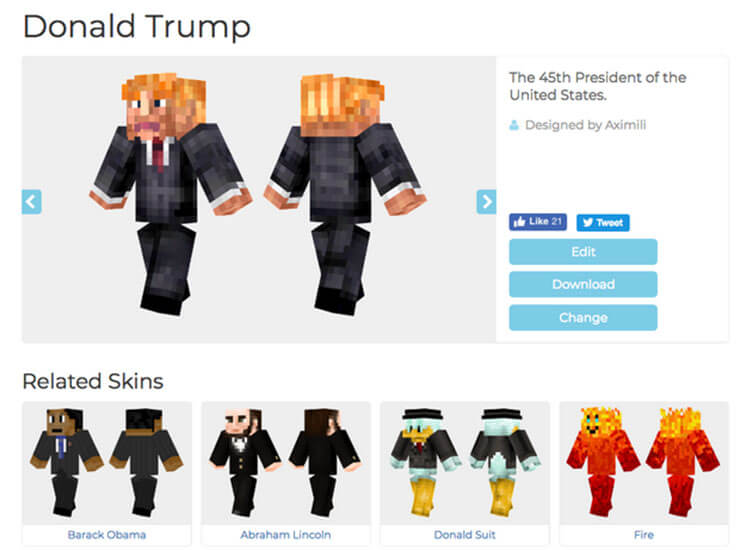 minecraft donald trump skin